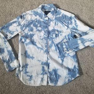 Acid Wash Bleach Splattered Denim Button Up Shirt